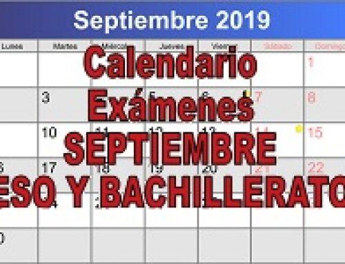 Fechas exámenes de septiembre ESO y Bachillerato