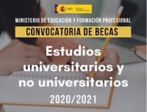 Publicación Becas de carácter General del Mº Educación y FP curso 2020-2021